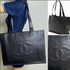 💎✨Authentic✨💎CHANEL Black Caviar Skin Tote Bag